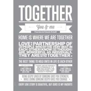 Plakat I Love My Type - Together - Grå (50x70 cm)