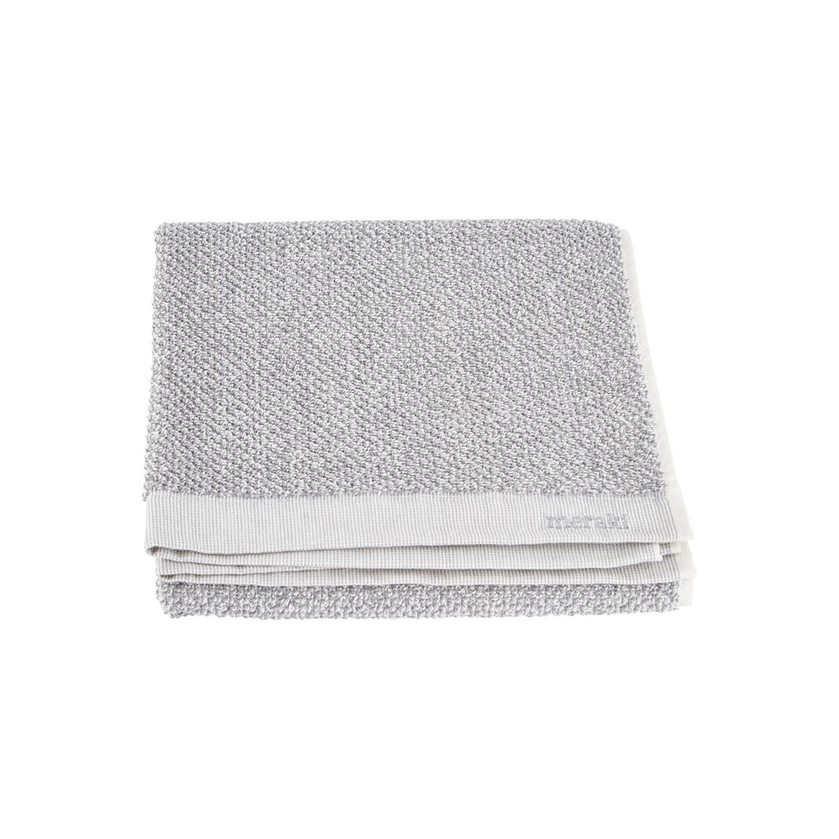 Image of   Meraki Håndklæde, hvid/grå, pakke m. 2 stk., 50 x 100 cm, 100% bomuld