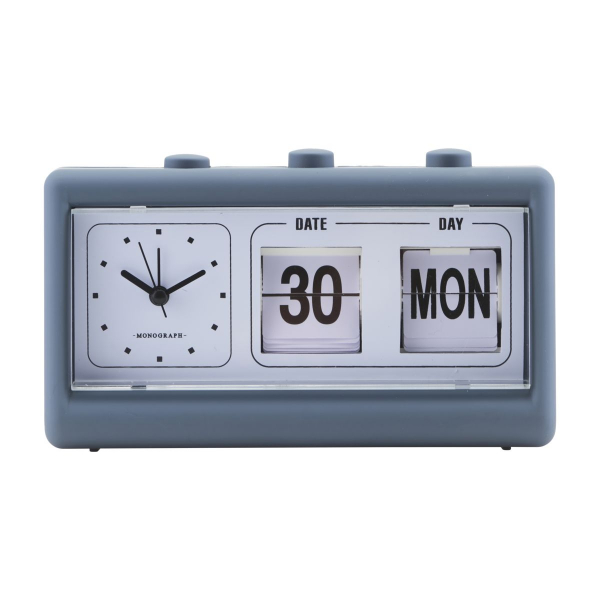 Image of   Monograph Ur, Retro, Blå, m. alarm og kalender, l: 19 cm, b: 6,2 cm, h: 11,1 cm