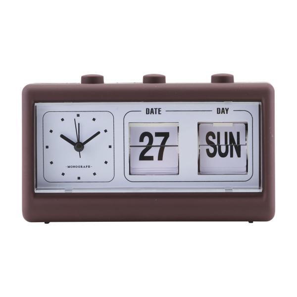 Image of   Monograph Ur, Retro, Burgundy/Brun, m. alarm og kalender, l: 19 cm, b: 6,2 cm, h: 11,1 cm