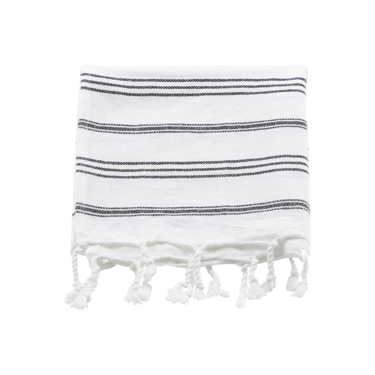 Image of   Meraki Hammam håndklæde, Hvid m. sort stribe, l: 90 cm, b: 45 cm