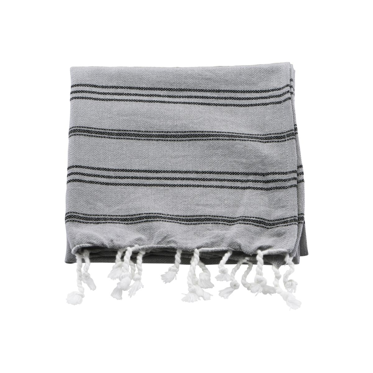 Image of   Meraki Hammam håndklæde, Grå m. sort stribe, l: 90 cm, b: 45 cm