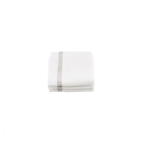 Meraki tvättduk, vit med grå ränder, 3 stycken, l: 30 cm, b: 30 cm