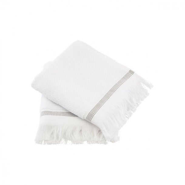 Meraki tvättduk, vit med grå ränder, 2 stycken,  l: 60 cm, b: 40  cm