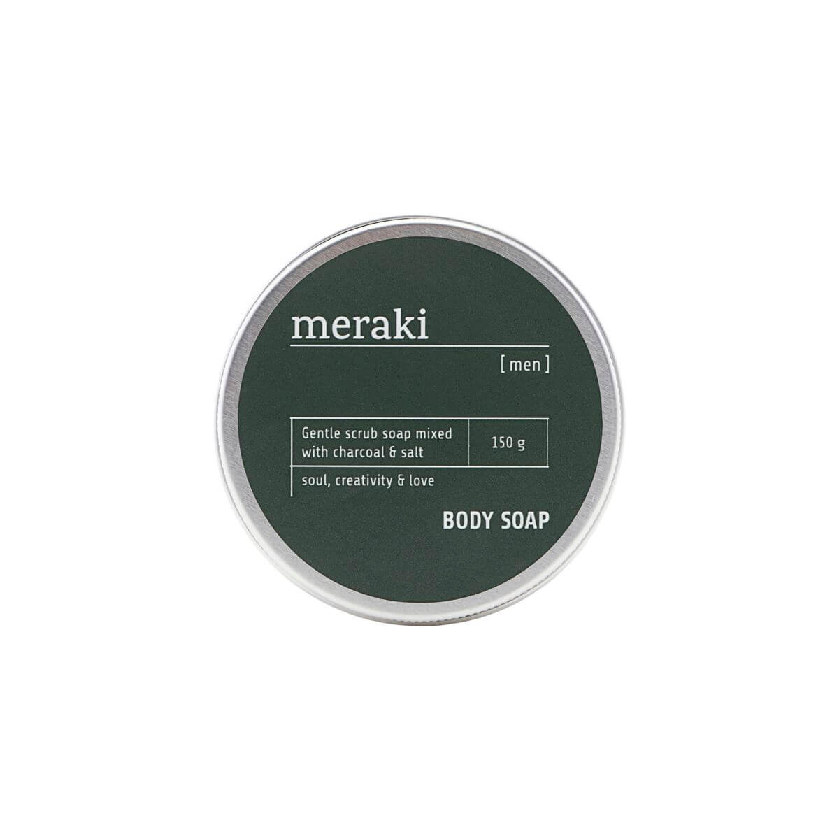 Meraki Body soap, Men, Charcoal & Salt, 150 g.