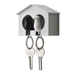 Qualy Vit Double Nyckelhållare med svart   vit fågel f84172072aadb