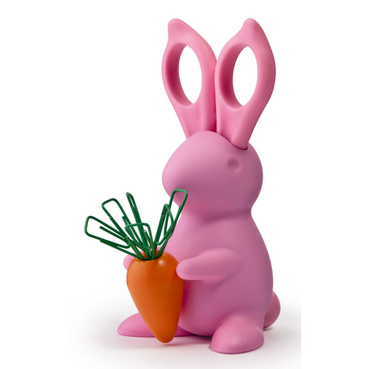 Image of   Qualy design Desk Bunny Saks & clips holder (Pink)