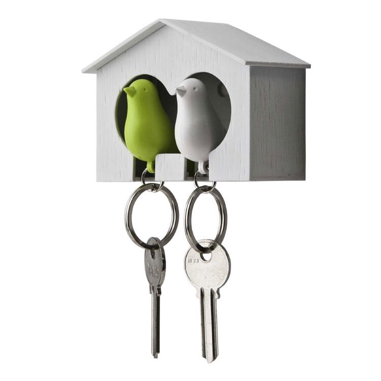 Qualy Hvid Dobbelt Nøgleholder med Grøn & Hvid fugl