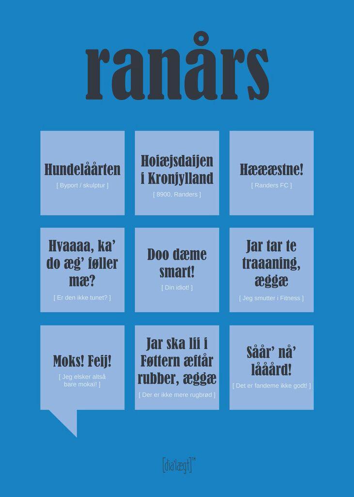 Dialægt Ranårs Plakat 50x70 cm