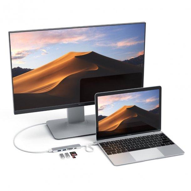Satechi Slim USB-C MultiPort Adapter V2, HDMI, USB 3.0 port, kortlæser, Silver