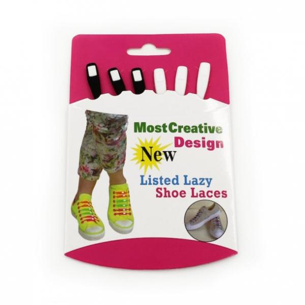 Image of   Lazy Shoe Laces Sort/ Hvid 12 stk Hvid