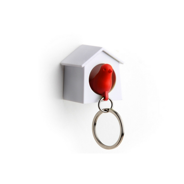 Image of   Qualy design Sparrow nøglering hvid/rød