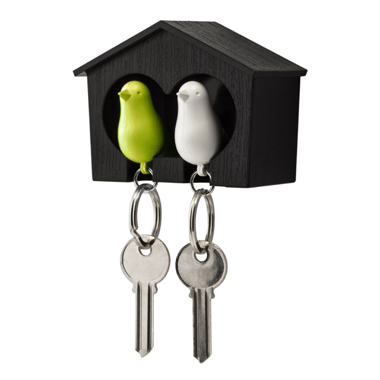 Qualy Sort Dobbelt Nøgleholder m/Grøn & Hvid fugl