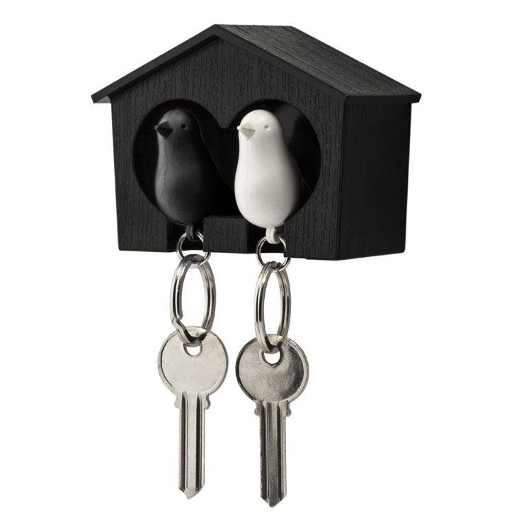 åå-Qualy Sort Dobbelt Nøgleholder m/Sort & Hvid fugl