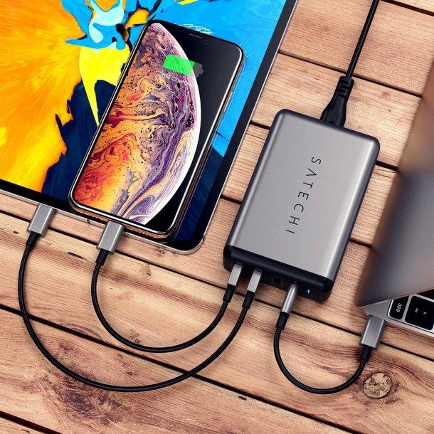 Satechi 75W PD rejseoplader med dobbel USB-C og USB-A udgang