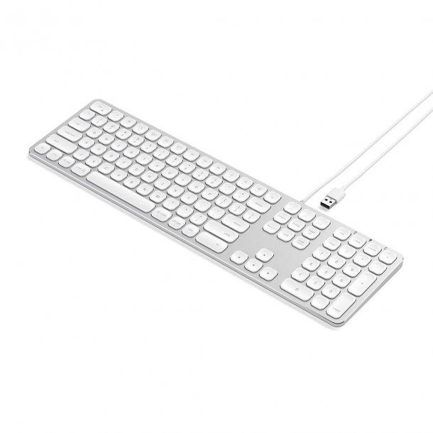 Satechi tastatur med USB tilslutning - Nordisk Layout, Silver